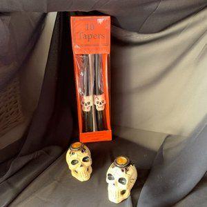 3/$25🎈 NWOT Skull tapers & 2 skull candle holders